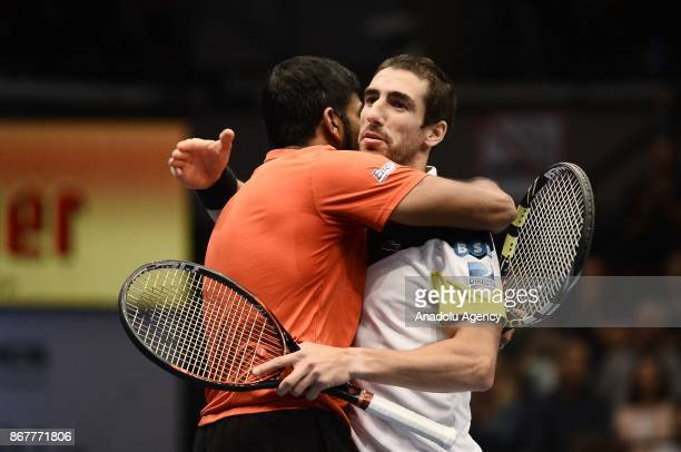Rohan Bopanna of India and Pablo Cuevas of Uruguai celebrate victory against Marcelo Demoliner of Brazil and Sam Querrey of USA during Erste Bank...
