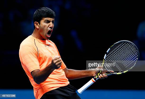 Rohan Bopanna of India celebrates victory partnering Florin Mergea of Romania in their men's doubles match against John Peers of Australia and Jamie...