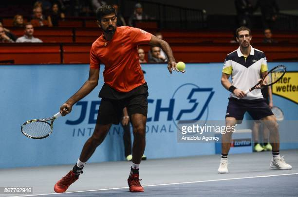 Rohan Bopanna of India in action against Marcelo Demoliner of Brazil and Sam Querrey of USA during Erste Bank Open 500 tournament doubles tennis...