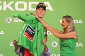 Rohan Dennis of Australia and BMC Racing Team dons the green jersey denoting the top points scoring rider following his victory during stage one of...