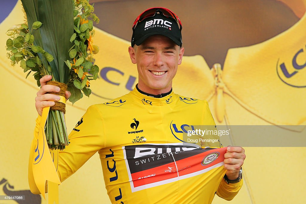<a gi-track='captionPersonalityLinkClicked' href=/galleries/search?phrase=Rohan+Dennis&family=editorial&specificpeople=4872676 ng-click='$event.stopPropagation()'>Rohan Dennis</a> of Australia and BMC Racing Team wears the yellow jersey following his victory during stage one of the 2015 Tour de France on July 4, 2015 in Utrecht, Netherlands.