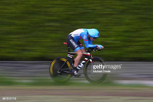 Rohan Dennis of Australia and Team GarminSharp on his way to second place during the 557km Prologue stage of the Tour de Romandie on April 29 2014 in...