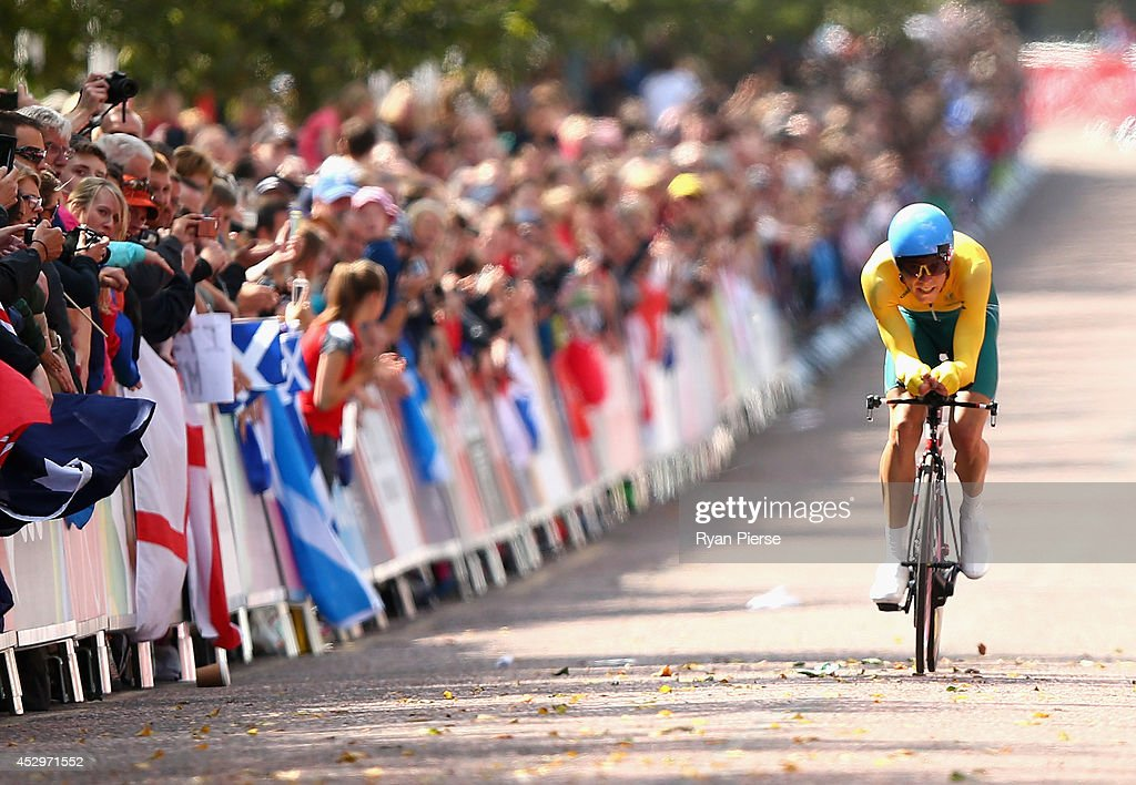 <a gi-track='captionPersonalityLinkClicked' href=/galleries/search?phrase=Rohan+Dennis&family=editorial&specificpeople=4872676 ng-click='$event.stopPropagation()'>Rohan Dennis</a> of Australia crosses the finish line during the Men's Cycling Road Time Trial at during day eight of the Glasgow 2014 Commonwealth Games on July 31, 2014 in Glasgow, United Kingdom.