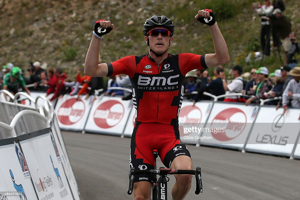 <a gi-track='captionPersonalityLinkClicked' href=/galleries/search?phrase=Rohan+Dennis&family=editorial&specificpeople=4872676 ng-click='$event.stopPropagation()'>Rohan Dennis</a> of Australia riding for BMC Racing celebrates after crossing the finish line in second place during stage two from Steamboat Springs to Arapahoe Basin of the 2015 USA Pro Challenge on August 18, 2015 in Dillon, Colorado.