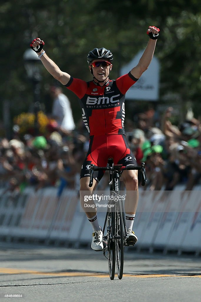 <a gi-track='captionPersonalityLinkClicked' href=/galleries/search?phrase=Rohan+Dennis&family=editorial&specificpeople=4872676 ng-click='$event.stopPropagation()'>Rohan Dennis</a> of Australia riding for BMC Racing celebrates as he crosses the finish line to win stage four and take the overall race lead in the 2015 USA Pro Challenge from Aspen to Breckenridge on August 20, 2015 in Breckenridge, Colorado.