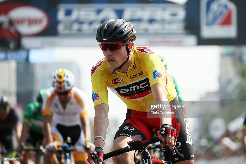 <a gi-track='captionPersonalityLinkClicked' href=/galleries/search?phrase=Rohan+Dennis&family=editorial&specificpeople=4872676 ng-click='$event.stopPropagation()'>Rohan Dennis</a> of Australia riding for BMC Racing crosses the finish line after winning the overall leader's jersey during stage seven from Golden to Denver of the 2015 USA Pro Challenge on August 23, 2015 in Denver, Colorado.