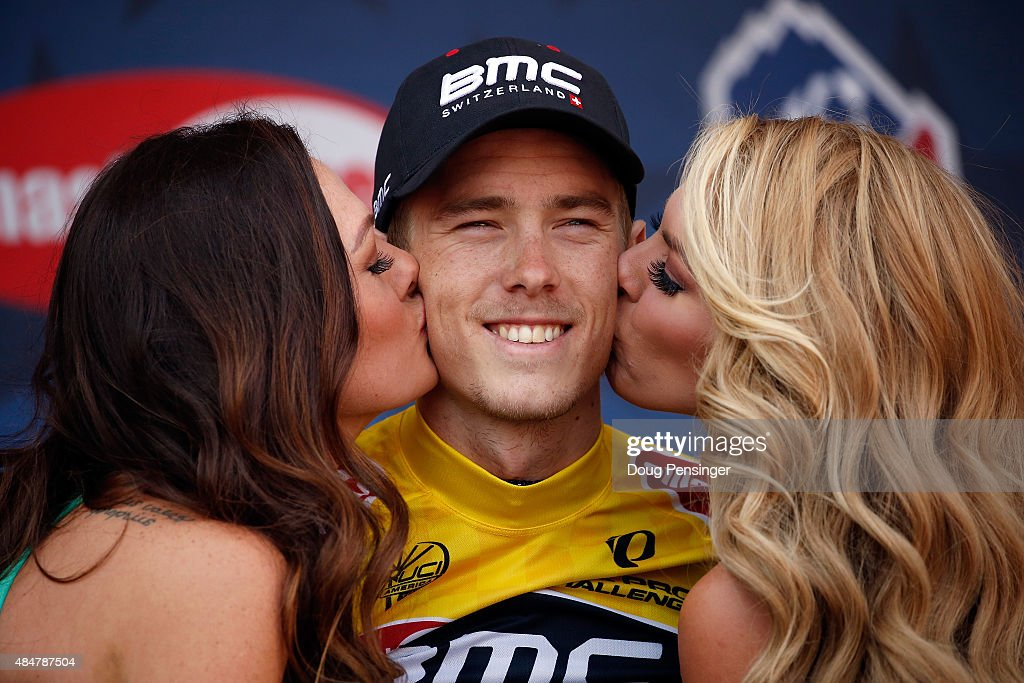 Rohan Dennis of Australia riding for BMC Racing is presented on the podium after winning the individual time trial during stage five and defending...