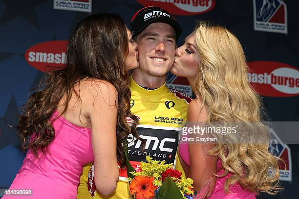Rohan Dennis of Australia riding for BMC Racing poses for a photo in the leader's jersey after stage six from Loveland to Fort Collins of the 2015...