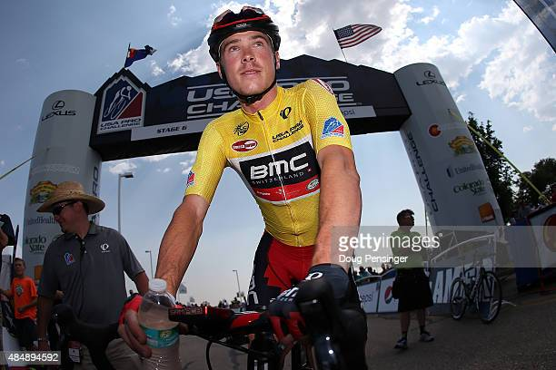 Rohan Dennis of Australia riding for BMC Racing prepares for the start as he went on to defends the overall race leader's yellow jersey during stage...