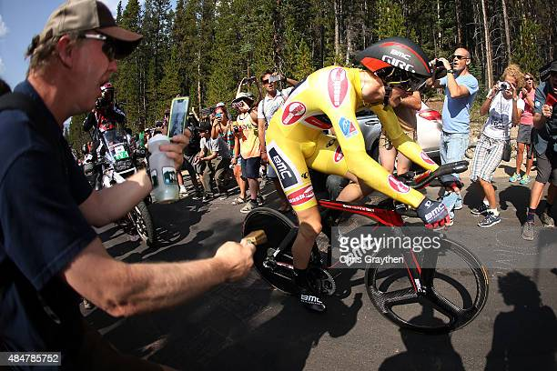 Rohan Dennis of Australia riding for BMC Racing rides up Moonstone road during the stage five time trial of the 2015 USA Pro Challenge on August 21...