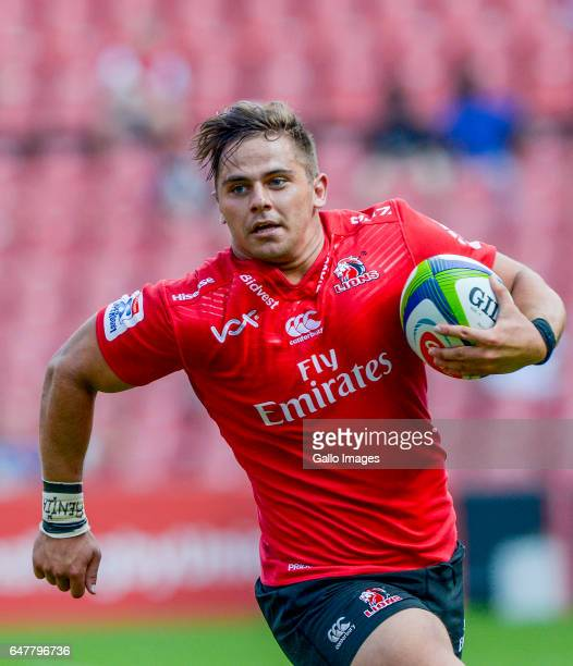 Rohan Jansen Van Rensburg of the Lions on his way to score a try during the Super Rugby match between Emirates Lions and Waratahs at Emirates...