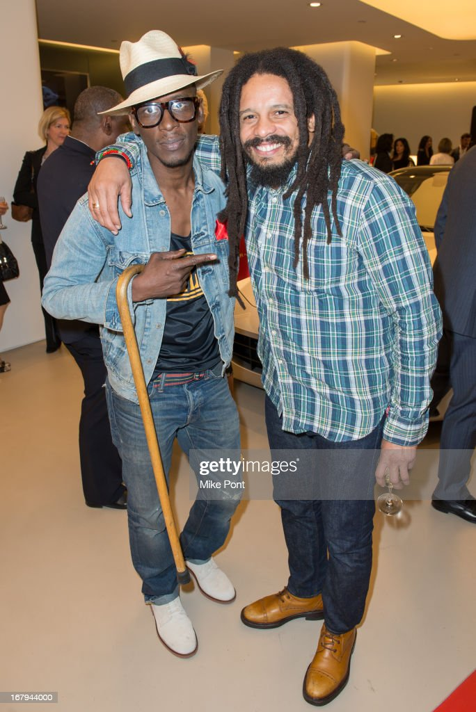 <a gi-track='captionPersonalityLinkClicked' href=/galleries/search?phrase=Rohan+Marley&family=editorial&specificpeople=1138145 ng-click='$event.stopPropagation()'>Rohan Marley</a> (R) and guest attend Fabrizio Sotti's 'Right Now' Album Listening Party at the Ferrari Corporate Showroom Of New York on May 2, 2013 in New York City.