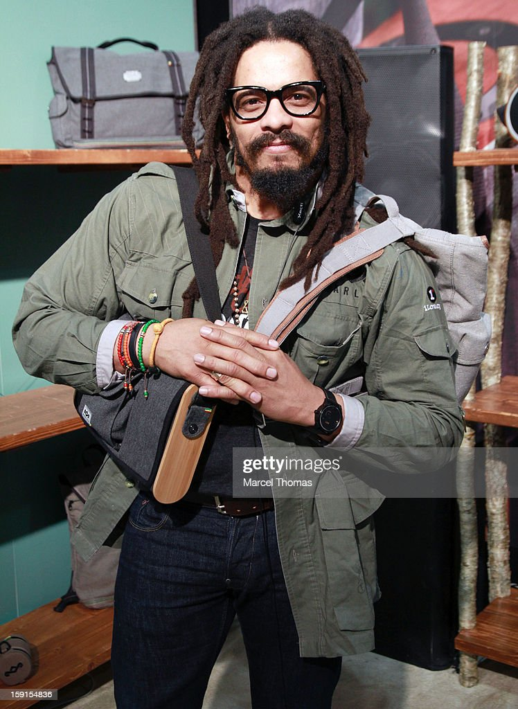 Rohan Marley carries the House of Marley's Lively Up Leather Scout Pack at the 2013 International CES held at the Las Vegas Convention Center on January 8, 2013 in Las Vegas, Nevada.
