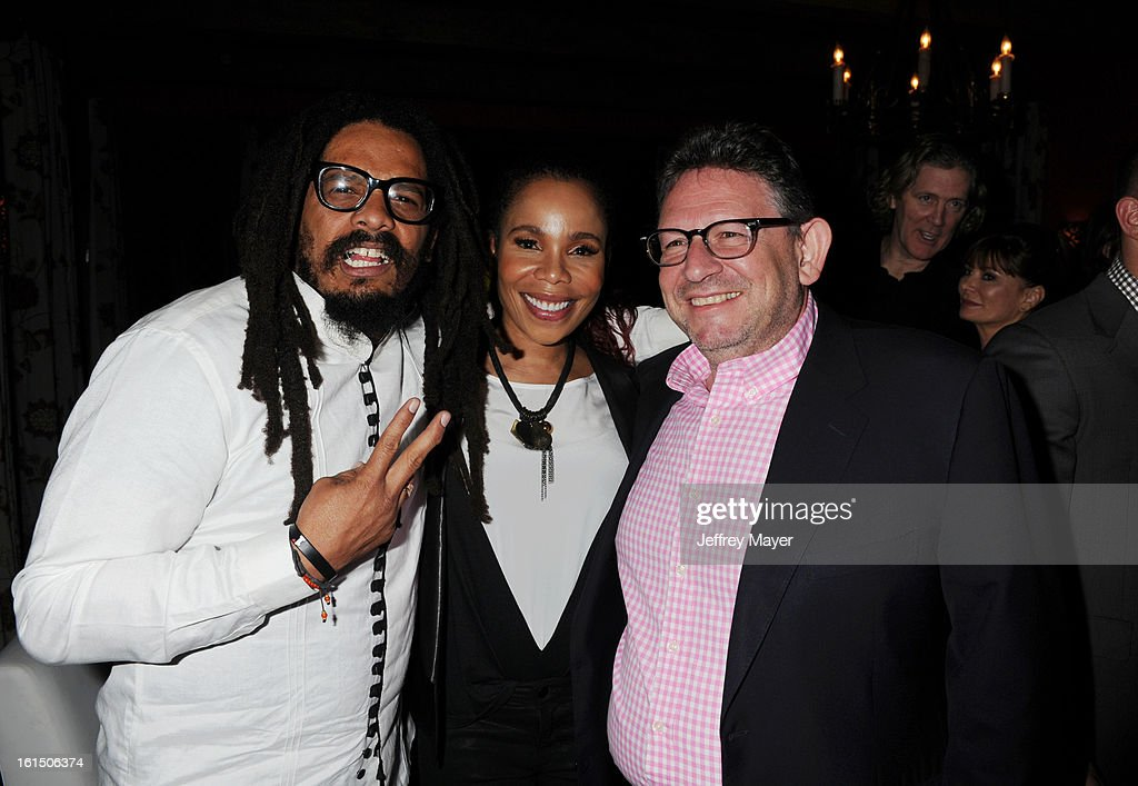 <a gi-track='captionPersonalityLinkClicked' href=/galleries/search?phrase=Rohan+Marley&family=editorial&specificpeople=1138145 ng-click='$event.stopPropagation()'>Rohan Marley</a>, Cedella Marley and Lucian Grainge, Chairman & CEO of Universal Music Group and Lucian Grainge, Chairman & CEO of Universal Music Group attend the Universal Music Group Chairman & CEO Lucian Grainge's annual Grammy Awards viewing party on February 10, 2013 in Brentwood, California.