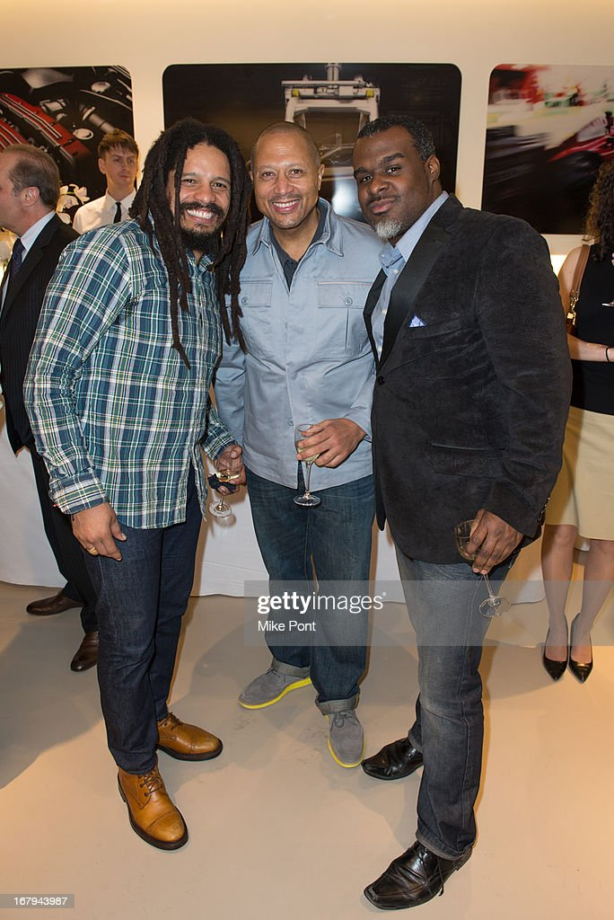 <a gi-track='captionPersonalityLinkClicked' href=/galleries/search?phrase=Rohan+Marley&family=editorial&specificpeople=1138145 ng-click='$event.stopPropagation()'>Rohan Marley</a>, Nike Entertainment Marketing Director Gerry Erasme and guest attend Fabrizio Sotti's 'Right Now' Album Listening Party at the Ferrari Corporate Showroom Of New York on May 2, 2013 in New York City.