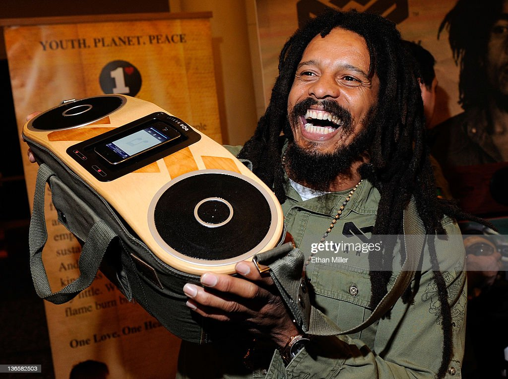 Rohan Marley, son of late Reggae musician Bob Marley, displays the USD 249 Bag of Rhythm audio player with docking station for iPhones and iPods from House of Marley during a press event at The Venetian for the 2012 International Consumer Electronics Show (CES) January 8, 2012 in Las Vegas, Nevada. CES, the world's largest annual consumer technology trade show, runs from January 10-13 and is expected to feature 2,700 exhibitors showing off their latest products and services to about 140,000 attendees.