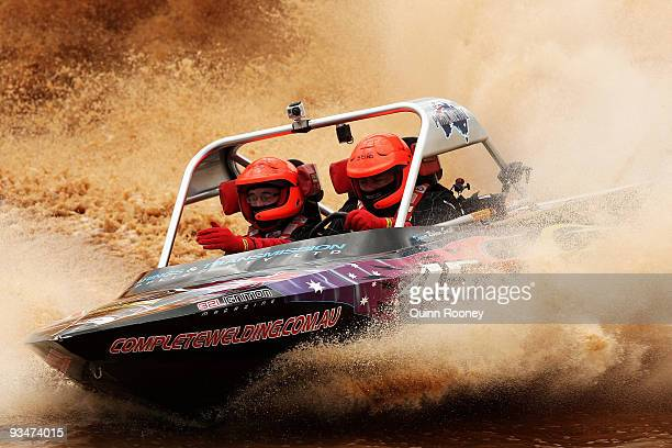 Rohan Smith and Owen Dyball of Australia compete in their boat BTS Racing during the 2009 World Jetsprint Championships at the Melton Motorsports...