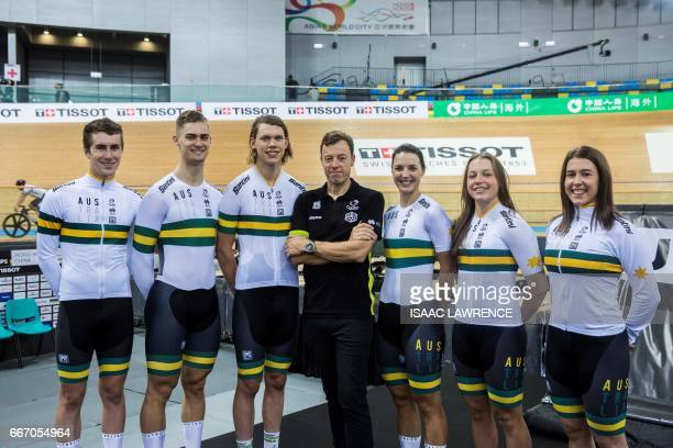 Rohan Wight Matthew Glaetzer Kelland O'Brien coach Simon Jones Rebecca Wiasak Kristina Clonan and Holly Takos of Australia unveil the team's new...