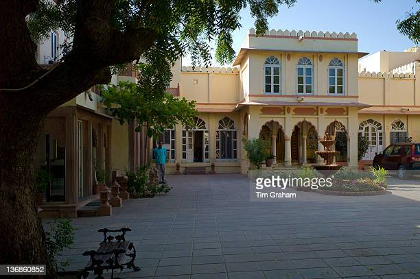 Rohet Garh fortress palace hotel inner courtyard and terrace Rohet Rajasthan India
