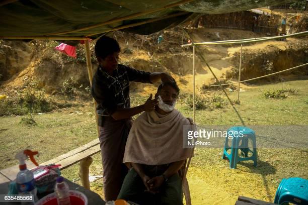 A Rohingya are seen at the makeshift Balu Khali Rohingya refugee camp on February 15 2017 in Bangladesh Almost 2000 thousand Rohingya family arrived...