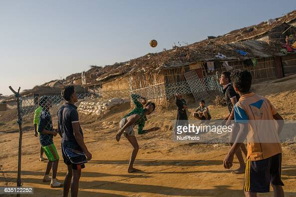 Rohingya boyes play chinlon the national sports of Myanmar in Kutupalong Refugee Camp Cox's Bazar Bangladesh on February 13 2017 After attacks by...