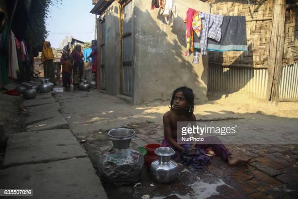 A Rohingya child is seen inside the makeshift Leda Rohingya refugee camp on February 15 2017 in Bangladesh Thousands of Rohingya living at makeshift...