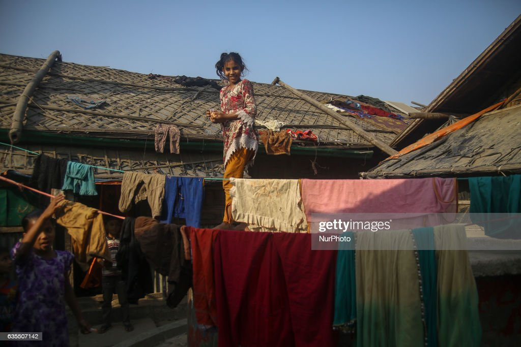 A Rohingya child is seen smile at the makeshift Leda Rohingya refugee camp on February 15, 2017 in Bangladesh. Thousands of Rohingya living at makeshift camp after conflict in Rakhine state started October last year flee to Bangladesh. More than 31 Non-goverment organisations (NGO) include Mapim and Kelab Putra 1 Malaysia from Malaysia, Indonesia, China, France, Germany, and United States joint forces bringing almost 2300 tonne of humanitarian goods include medicine, food, cooking oil and cloth were sending to ethnic minority Rohingya in Yangon and Teknaf.
