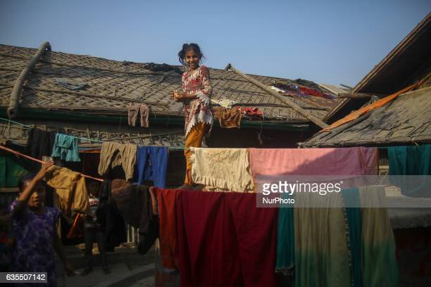 A Rohingya child is seen smile at the makeshift Leda Rohingya refugee camp on February 15 2017 in Bangladesh Thousands of Rohingya living at...
