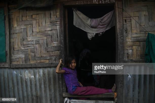A Rohingya child is seen smile inside the makeshift Leda Rohingya refugee camp on February 15 2017 in Bangladesh Thousands of Rohingya living at...