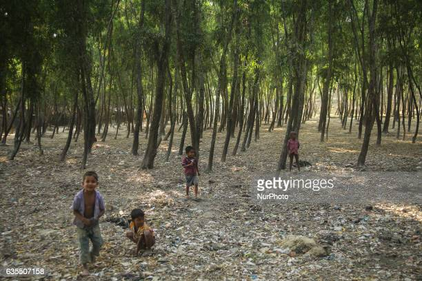 A Rohingya children are seen near the shelter at the makeshift Leda Rohingya refugee camp on February 15 2017 in Bangladesh Thousands of Rohingya...