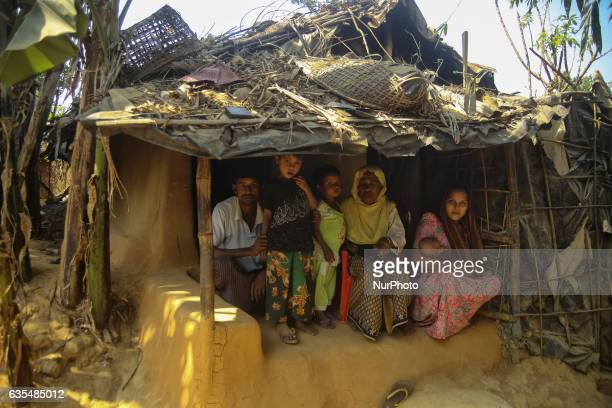 A Rohingya family are seen inside their makeshift Refugee Camp in Kutupalong Bangladesh on February 15 2017 Almost 60000 thousand refugees from...