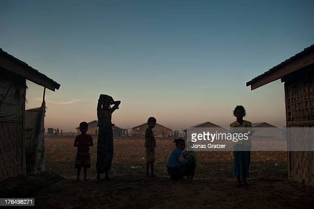 Rohingya family group up together between their huts in the IDP refugee camps of Sittwe Sittwe now has over 125000 people who are isolated after...