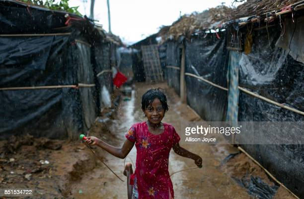COX'S BAZAR BANGLADESH SEPTEMBER 21 A Rohingya refugee child is seen at a CODEC and UNICEF 'child friendly space' on September 21 2017 in Cox's Bazar...