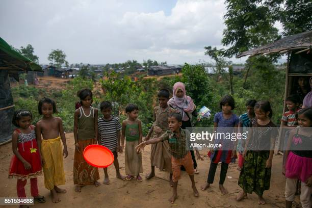 COX'S BAZAR BANGLADESH SEPTEMBER 21 Rohingya refugee children are seen at a CODEC and UNICEF 'child friendly space' on September 21 2017 in Cox's...