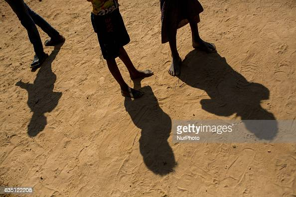 Rohingya refugee kids in Kutupalong Refugee Camp Cox's Bazar Bangladesh on February 13 2017 After attacks by Rohingya militants on border police...