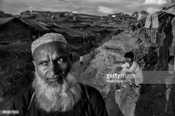 COX'S BAZAR BANGLADESH SEPTEMBER 25 Rohingya refugees are seen outside makeshift shelters at the Balukali Refugee Camp on September 25 2017 in Cox's...