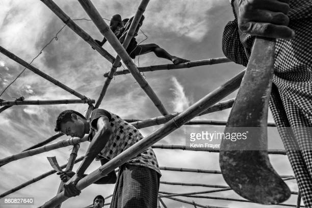 COX'S BAZAR BANGLADESH OCTOBER 02 Rohingya refugees build a new mosque at the Balukali Refugee Camp on October 2 2017 in Cox's Bazar Bangladesh More...