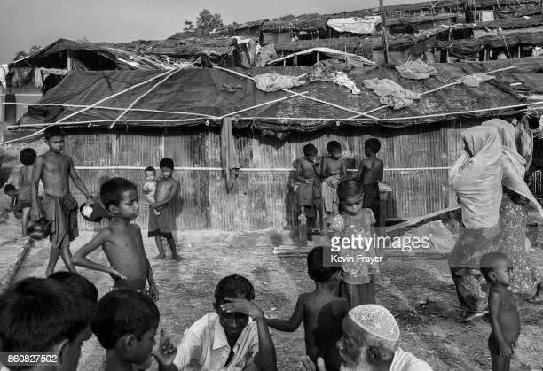 COX'S BAZAR BANGLADESH SEPTEMBER 26 Rohingya refugees gather at the Palongkali refugee camp on September 26 2017 in Cox's Bazar Bangladesh More than...