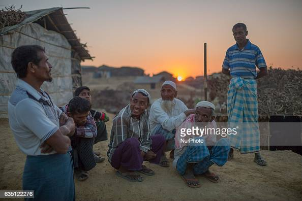 Rohingya refugees talks to eachother at Kutupalong Refugee Camp Cox's Bazar Bangladesh on February 13 2017 After attacks by Rohingya militants on...