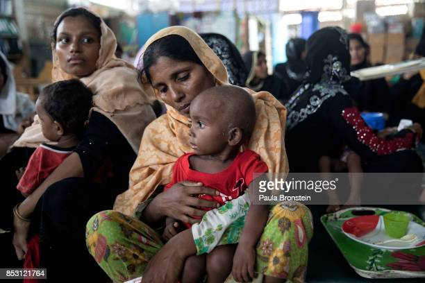 Rohingya wait for treatment at the Action Against Hunger in the Out Patient Therapeutic program on September 24 2017 in Amtola Cox's Bazar Bangladesh...