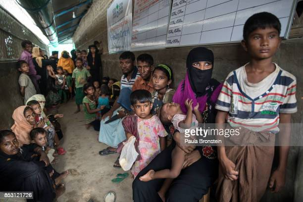 Rohingya wait to get into the feeding center at the Action Against Hunger in the Out Patient Therapeutic program on September 24 2017 in Amtola Cox's...