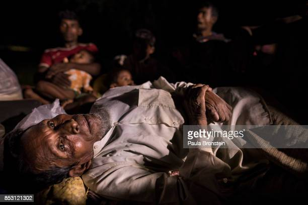 Rohingya who just arrived gather together sleeping without any shelter arriving by foot from Myanmar September 24 2017 in Thainkhali Cox's Bazar...