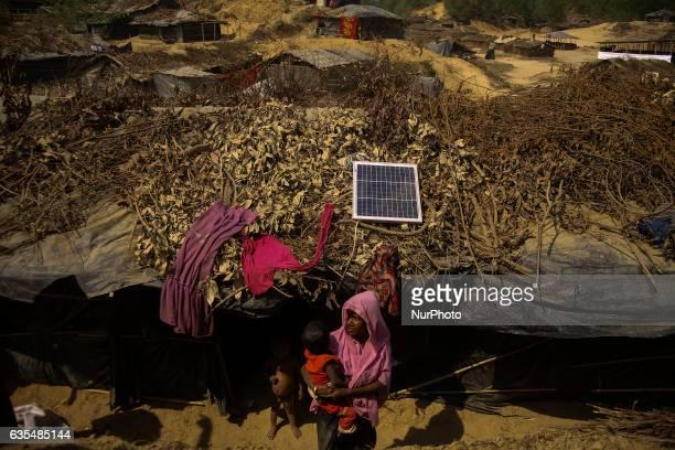 A Rohingya women is seen at her makeshift Balu Khali Rohingya refugee camp on February 15 2017 in Bangladesh Almost 2000 thousand Rohingya family...