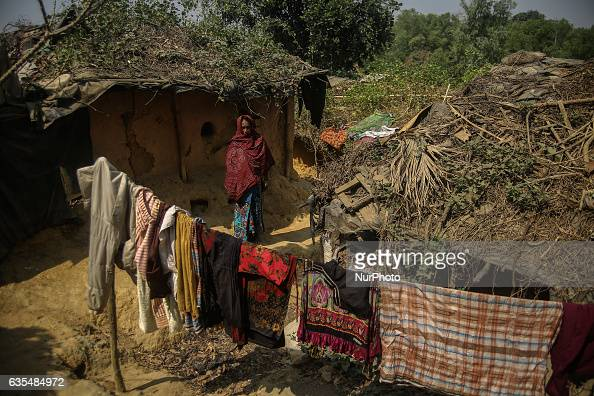 A Rohingya women is seen at her makeshift Refugee Camp in Kutupalong Bangladesh on February 15 2017 Almost 60000 thousand refugees from Maungdaw...