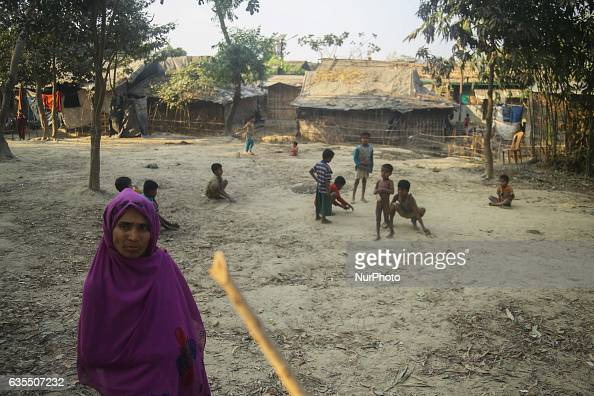 A Rohingya women stand inside the makeshift Leda Rohingya refugee camp on February 15 2017 in Bangladesh Thousands of Rohingya living at makeshift...