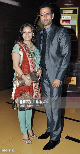 Rohit Roy with wife Mansi Joshi Roy at the premiere of the film Mitali Mittal Vs Karan Mittal in Mumbai on Wednesday March 24 2010