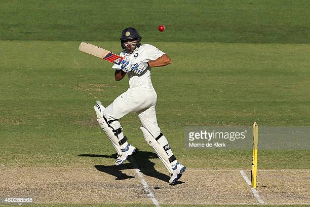 Rohit Sharma of India bats during day three of the First Test match between Australia and India at Adelaide Oval on December 11 2014 in Adelaide...