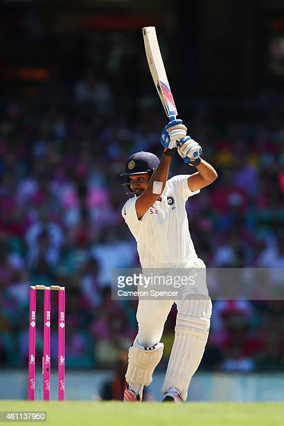 Rohit Sharma of India bats during day three of the Fourth Test match between Australia and India at Sydney Cricket Ground on January 8 2015 in Sydney...