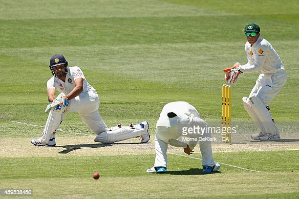 Rohit Sharma of India bats during day two of the tour match between CA XI and India at Gliderol Stadium on November 25 2014 in Adelaide Australia
