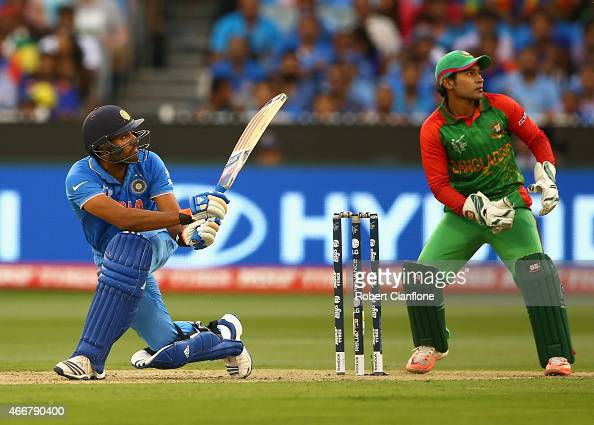 Rohit Sharma of India bats during the 2015 ICC Cricket World Cup match between India and Bangldesh at Melbourne Cricket Ground on March 19 2015 in...